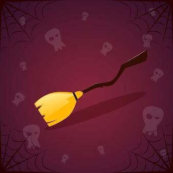 Bruja palo de escoba y calaveras. feliz decoración de halloween fiesta de terror