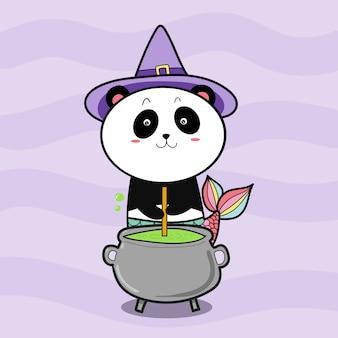 Bruja panda prepara poción para halloween