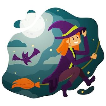 Una bruja pelirroja en una escoba en el cielo estrellado en la noche de halloween.