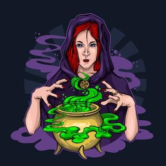 Bruja pelirroja prepara una poción y conjura en halloween