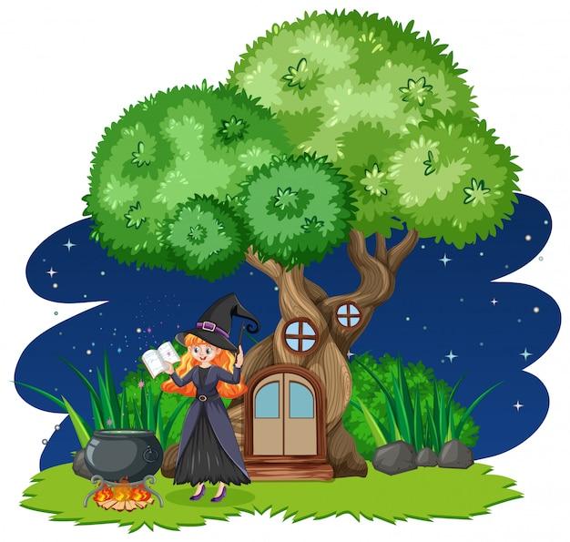 Bruja de pie junto a la casa del árbol de estilo de dibujos animados sobre fondo blanco.