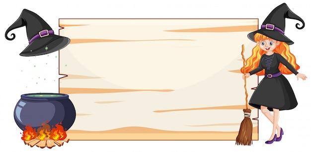 Bruja con pote de escoba negra y palo de escoba y estilo de dibujos animados de papel de banner en blanco aislado sobre fondo blanco