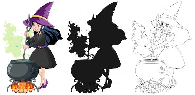 Bruja con pote mágico en color y contorno y silueta personaje de dibujos animados aislado sobre fondo blanco.
