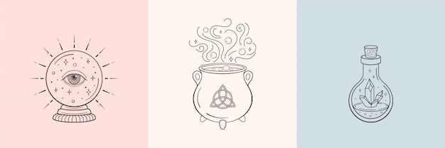 Bruja y símbolos mágicos con bola de cristal, botella de cristal mágico, caldero