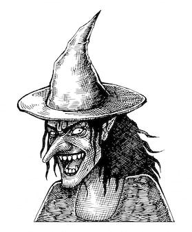 Bruja sonriente aterradora, dibujada a mano