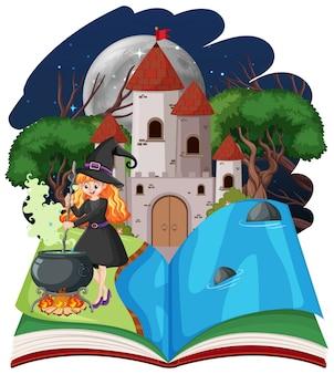 La bruja y la torre del castillo con pop-up estilo de dibujos animados de libros sobre fondo blanco.