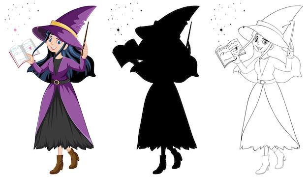 Bruja con varita mágica en color y contorno y personaje de dibujos animados de silueta aislado sobre fondo blanco.