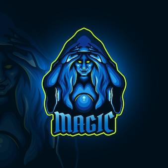 Bruja viciosa con un logo de deportes de bola mágica