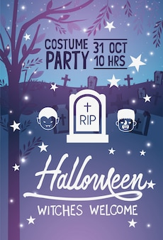 Brujas de halloween cartel de bienvenida
