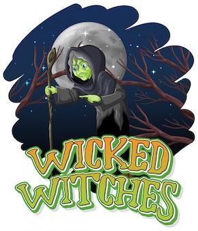 Brujas malvadas sobre fondo nocturno
