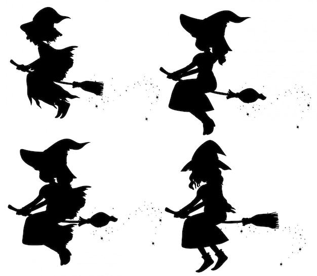 Brujas en personaje de dibujos animados silueta aislado sobre fondo blanco.