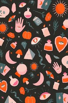 Brujería bohemia doodle fondo de halloween