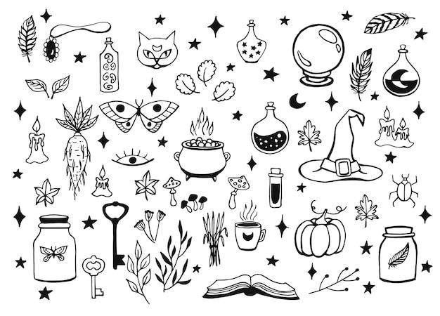 Brujería, fondo mágico para brujas y magos. colección vintage de vector. herramientas mágicas dibujadas a mano, concepto de brujería. herramientas mágicas dibujadas: libro, velas, pociones, caldero, gato, sombrero, globo.