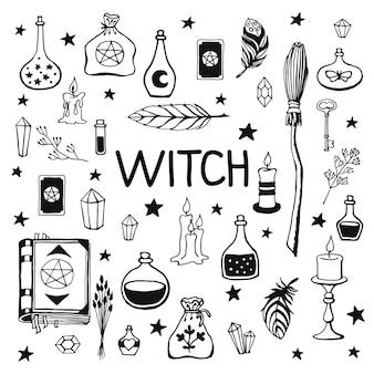 Brujería, fondo mágico para brujas y magos. colección vintage de vector. herramientas mágicas dibujadas a mano, concepto de brujería. herramientas mágicas dibujadas: libro, velas, pociones, escoba, cristales, caldero.
