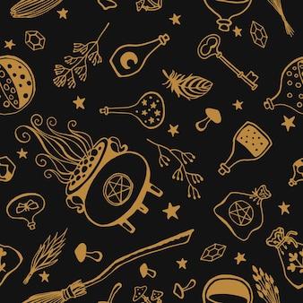 Brujería, fondo mágico para brujas y magos. patrón transparente de vector en estilo vintage. herramientas mágicas dibujadas a mano, concepto de brujería.