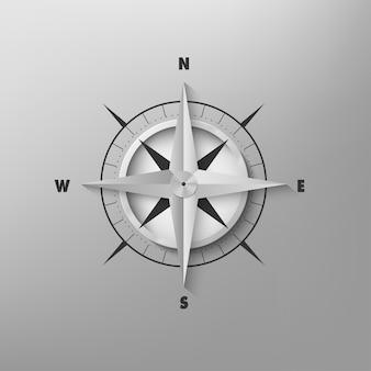 Brújula 3d vector sobre un fondo gris