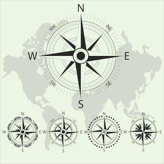 Brújula náutica retro. diseño retro