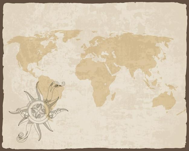 Brújula náutica retro en el mapa del mundo de textura de papel antiguo con marco de borde rasgado.