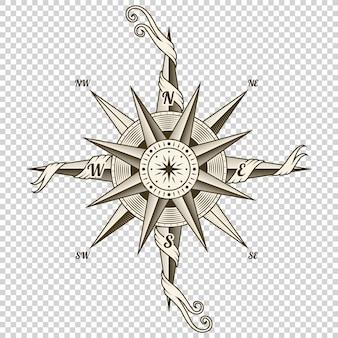 Brújula náutica vintage. elemento de diseño antiguo para tema marino y heráldica sobre fondo transparente. rosa de los vientos dibujada a mano