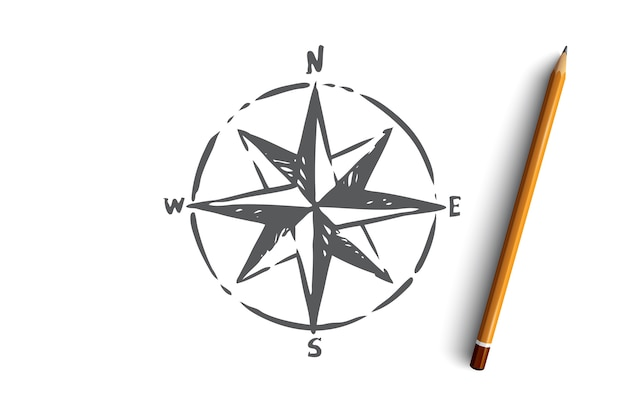 Brújula de navegación windrose símbolo de dirección de navegación