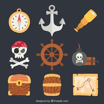 Brújula y otros elementos de aventura de piratas