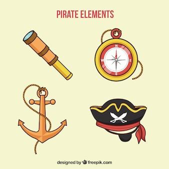 Brújula y otros elementos dibujados a mano