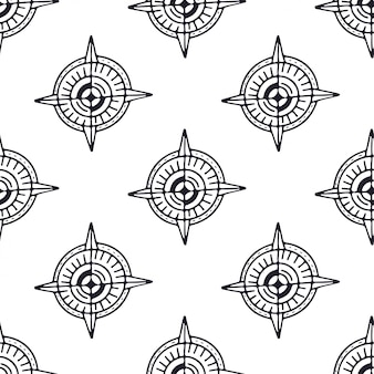 Brújula de patrones sin fisuras en colores blanco y negro