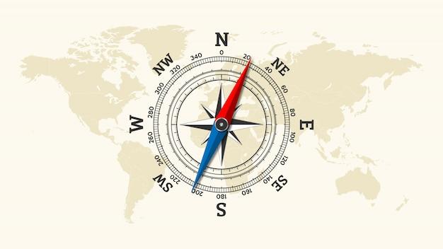 Brújula rosa de los vientos icono en el fondo del mapa mundial