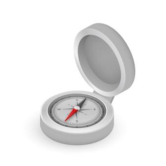 Brújula sobre fondo blanco. símbolo de navegación plana ilustración de stock
