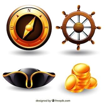 Brújula con timón y otros elementos piratas