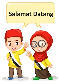 Brunei niño y niña saludando