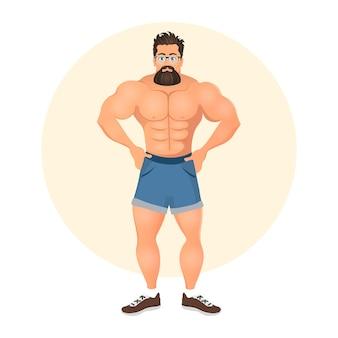 Brutal joven barbudo hipster masculino con anteojos. moda