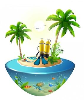 Bucear en el mar tropical frente a la isla paradisíaca. vacaciones en la playa, palmera, máscara de buceo, tanque de oxígeno, aleta, mundo submarino