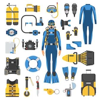 Buceo conjunto de elementos. hombre de buzo en traje de neopreno, equipo de buceo y accesorios.