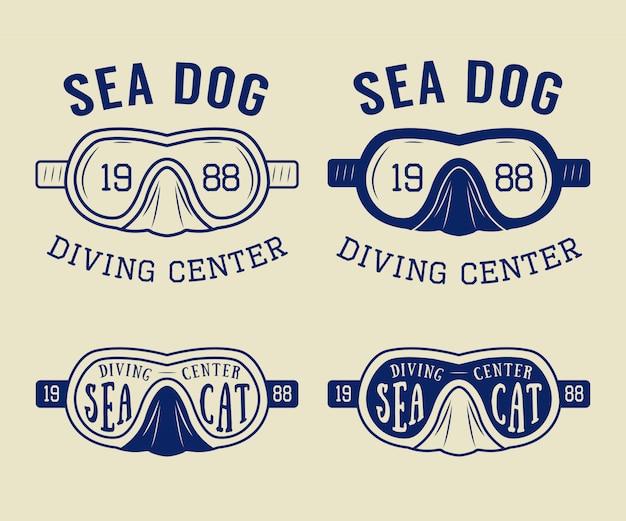 Buceo logos, etiquetas, emblemas.