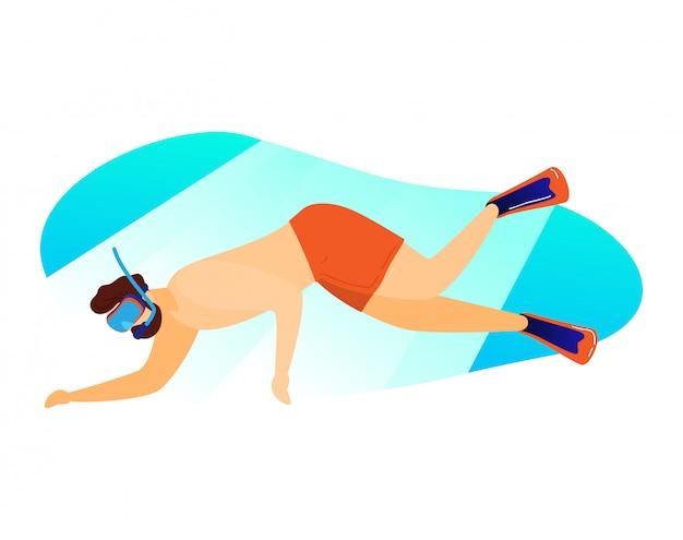 Buceo personaje masculino, viajar país tropical bajo el agua relajarse nadar aislado en blanco, ilustración de dibujos animados.