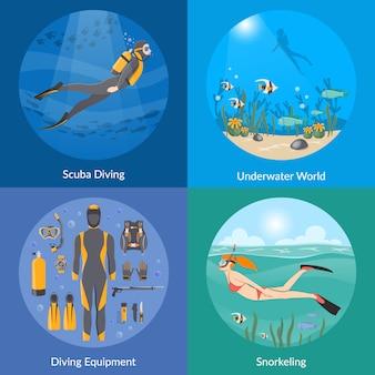 Buceo y snorkel con elementos y personajes.