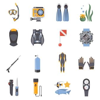 Buceo y snorkeling iconos decorativos planos