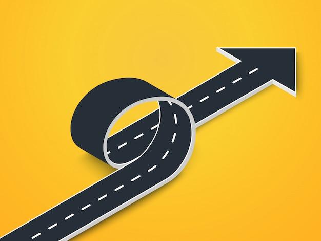 Bucle de carretera con vista isométrica de flecha. sinuoso camino en 3d