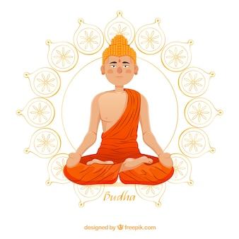 Buda adorable con diseño plano