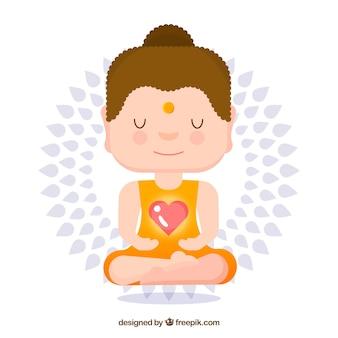 Buda adorable con estilo de dibujo animado