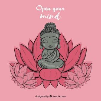 Buda adorable con estilo de dibujo a mano