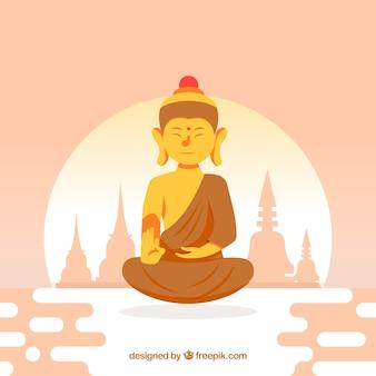 Buda colorido con diseño plano