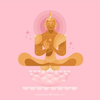Buda dorado con diseño plano