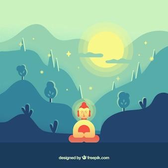 Buda en la naturaleza con diseño plano