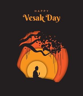 Buda gautama meditando bajo el árbol de banyan en el día de vesak