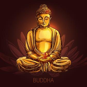 Buda en la ilustración de flor de loto