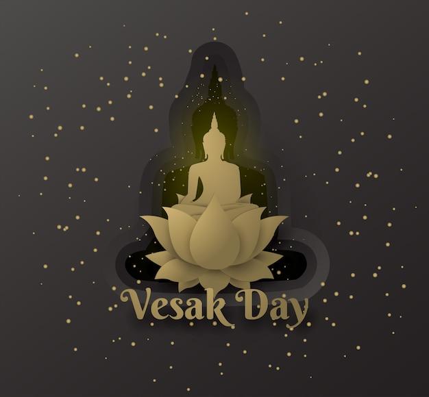Buda en loto feliz día de vesak sobre fondo negro capas