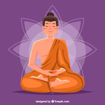 Buda sonriente con diseño plano