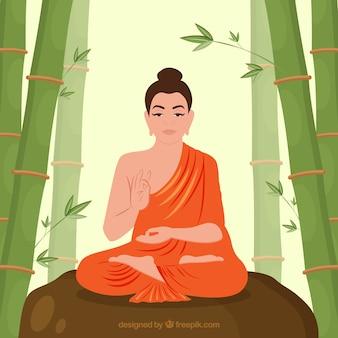 Buda tradicional con diseño plano